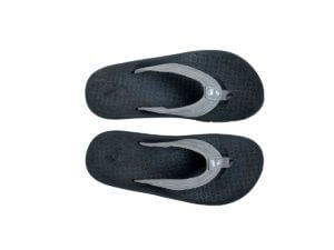 Fabric and Leather Strap Flip Flops Black and Gray