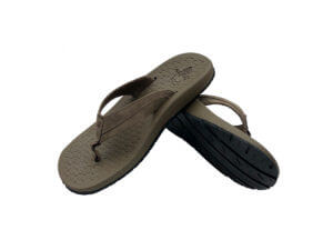 Mens Brown Flip Flops Stitched Leather & Fabric Straps