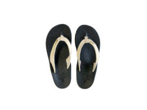 Womens Black and Cream Flip Flops Stitched Leather & Fabric Straps