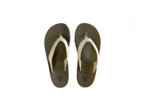 Women's Brown & Cream Flip Flops Stitched Leather & Fabric Straps