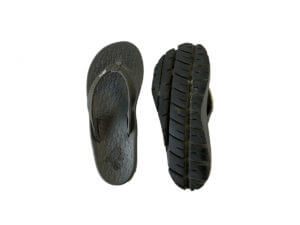Women's Dark Gray Flip Flops Stitched Leather & Fabric Straps