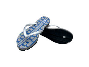Women's Blue Gray & Silver Traction Graphic Tread Flip Flops