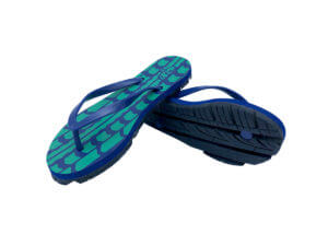 Women's Navy & Green Traction Graphic Tread Flip Flops