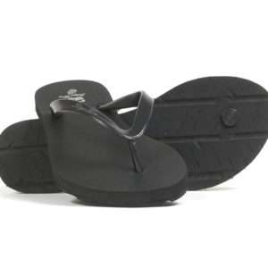 akeNight - Black Slim Strap Women's Tire Tread Flip Flops - Main View