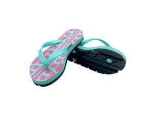 Kids Pink & Teal Traction Graphic Tread Flip Flops
