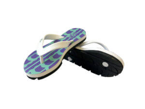 Kids Teal Purple and White Traction Graphic Tread Flip Flops