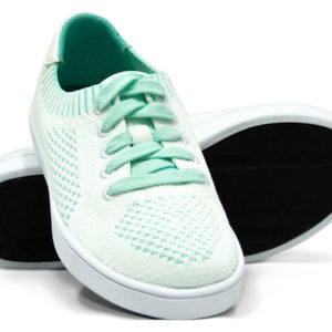 White Turquoise Teal Woven Sneakers with Tire Tread Soles