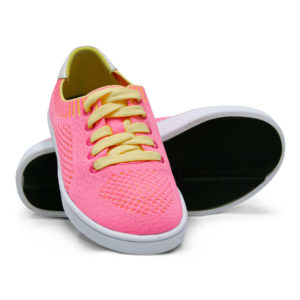 Woven Sneakers with Tire Tread Pink Yellow