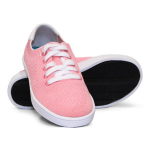 Woven Sneakers with Tire Tread Pink White