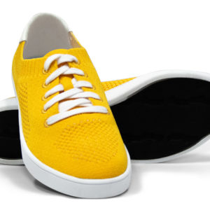 Yellow White Woven Sneakers with Tire Tread Soles