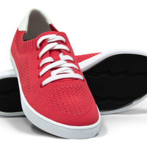 White Red Woven Sneakers with Tire Tread Soles