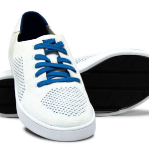 White Blue Woven Sneakers with Tire Tread Soles