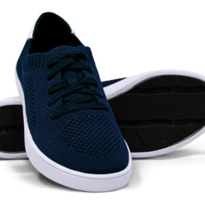 Woven Sneakers with Tire Tread Navy White