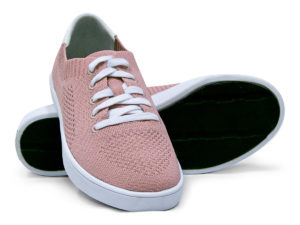 Woven Sneakers with Tire Tread Blush Pink