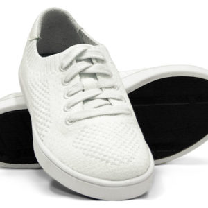 Woven Sneakers with Tire Tread White White