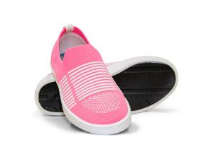 Woven Sneaker Slip On Tire Tread Bright Pink White