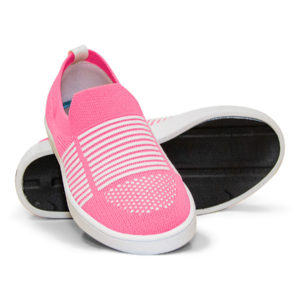 Woven Sneaker Slip On Tire Tread Bright Pink White