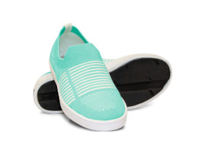 Woven Sneaker Slip On Tire Tread Bright Teal White