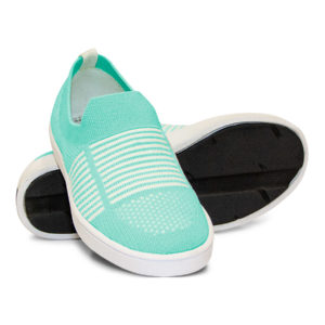 Woven Sneaker Slip On Tire Tread Bright Teal White
