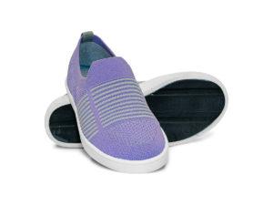 Woven Sneaker Slip On Tire Tread Purple Grey Gray