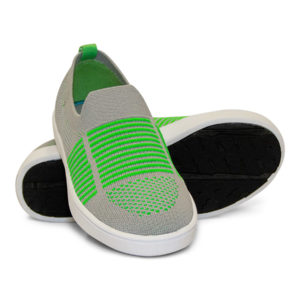 Woven Sneaker Slip On Tire Tread Lime Green Grey Gray