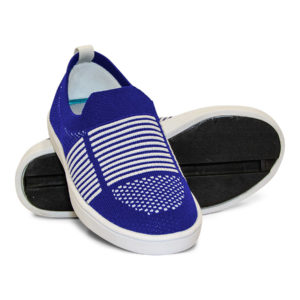 Woven Sneaker Slip On Tire Tread Blue White