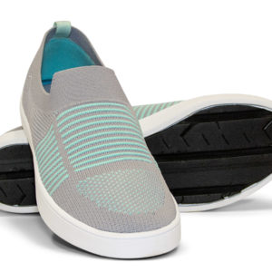 Woven Sneakers with Tire Tread Gray Grey Teal