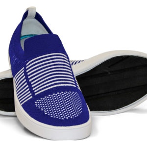Woven Sneakers with Tire Tread Blue White