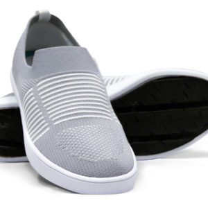 Grey Gray White Woven Slip On Sneakers with Tire Tread Soles