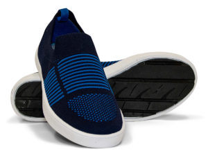 Woven Sneaker Slip On Tire Tread Navy Blue