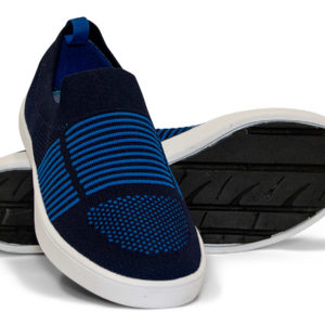 Woven Sneaker Slip On Tire Tread Navy Blue