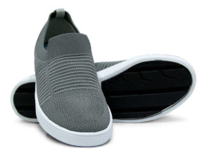 Woven Sneaker Slip On Tire Tread Gray Grey