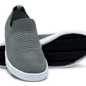 Woven Sneaker Slip On Tire Tread Gray Grey