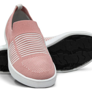 Woven Sneaker Slip On Tire Tread Blush White
