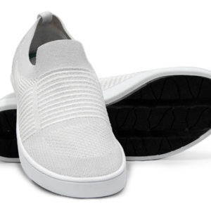 Woven Sneaker Slip On Tire Tread White White