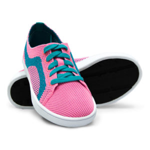 Kids Pink Turquoise Teal Woven Sneaker with Tire Tread