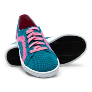 Turquoise Teal Pink Woven Sneakers With Tire Tread Soles