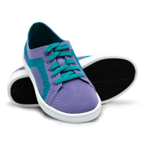 Kids Purple Turquoise Teal Woven Sneaker with Tire Tread