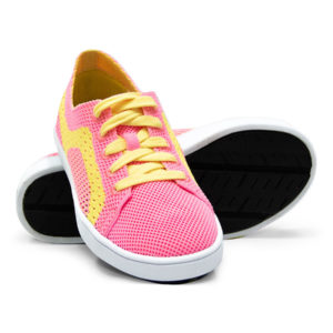 Pink and Yellow Woven Sneakers with Tire Tread Soles