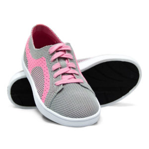 Pink and Gray Grey Woven Sneakers with Tire Tread Soles