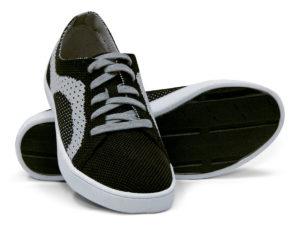 Woven Sneaker Sporty Tire Tread Gray Grey Black