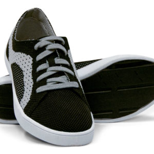 Woven Sneaker Sporty Tire Tread Gray Grey Black