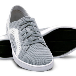 Woven Sneaker Sporty Tire Tread Gray Grey White