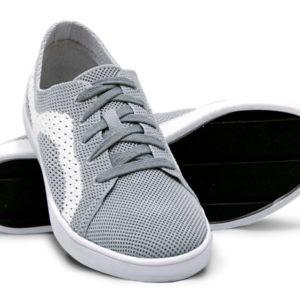 Woven Sneaker Sporty Tire Tread Gray Grey White