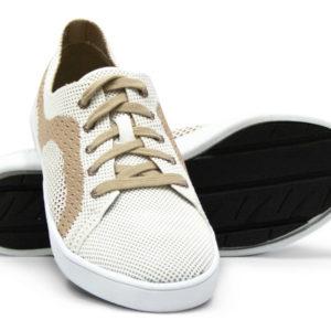 Woven Sneaker Sporty Tire Tread White Tan