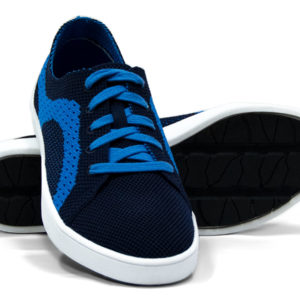 Navy and Blue Woven Sneakers with Tire Tread Soles