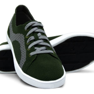 Army Green and Grey Gray Woven Sneakers with Tire Tread Soles