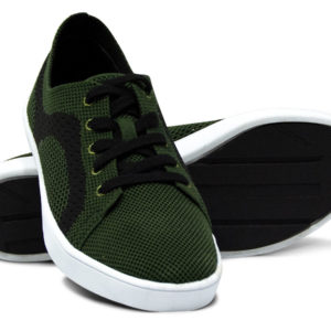 Army Green and Black Woven Sneakers with Tire Tread Soles