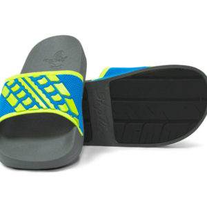 Slide Sandals Kids Electric Blue Lime Green and Grey Gray