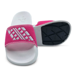 Slide Sandals Kids Bright Pink and White